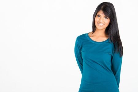 cheerful casual Hispanic woman on white Stock Photo - 10746247