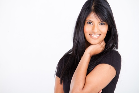 young attractive indian woman on white with copy space photo