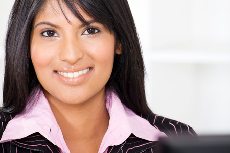 smart young latin american businesswoman closeup portrait photo