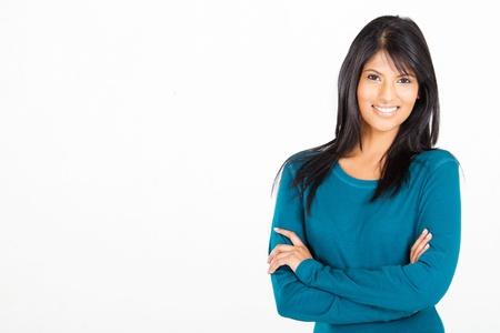 hispanic: cheerful casual Hispanic woman on white