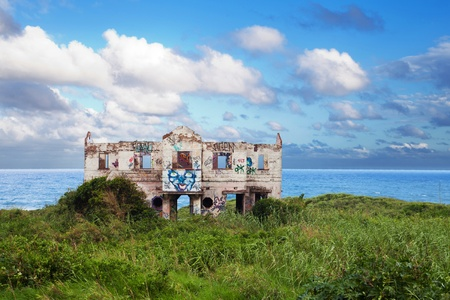 abandoned beach house on north coast of Durban, South Africa photo