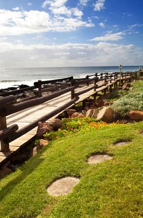 pedestrian walkway: beach pedestrian walkway Stock Photo