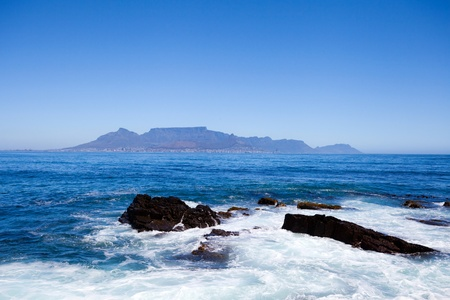 robben island: table mountain view from Robben Island