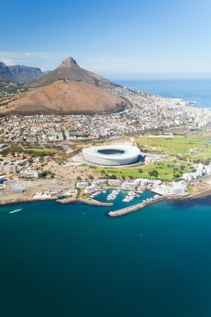 western town: aerial view of green point stadium Cape Town, South Africa Stock Photo