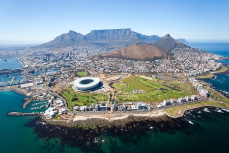 overall aerial view of Cape Town, South Africa Standard-Bild
