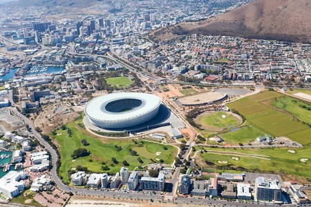 sports venue: aerial view of green point stadium and downtown of Cape Town, South Africa Stock Photo