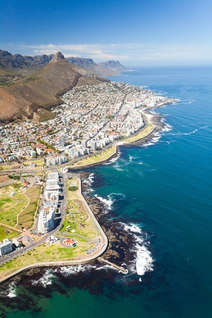 water town: aerial view of coast of Cape Town, South Africa Stock Photo