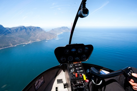 helicopter pilot: beautiful Cape Town coastal aerial view from helicopter