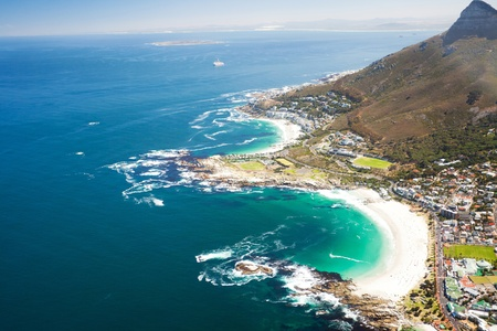 south africa: aerial coastal view of Cape Town, South Africa