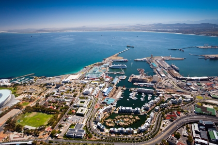 town: aerial view of cape town harbor and v&a waterfront