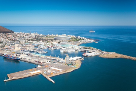 aerial view of Cape Town waterfront and harbour