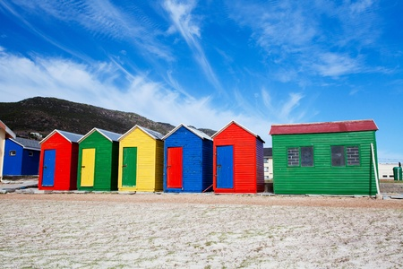cape town: colorful beach cottages on beach in Cape Town, South Africa Stock Photo