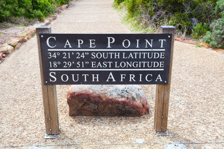 south western: cape point, south africa GPS coordinates sign board