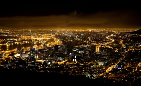 night table: night scene of Cape Town, South Africa
