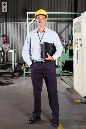 electricista: retrato de cuerpo entero de la gerente de la fábrica técnica Foto de archivo