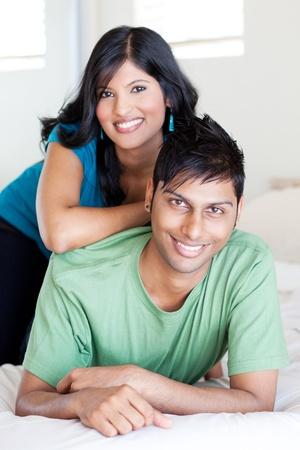 indian couple: joyful young indian couple portrait