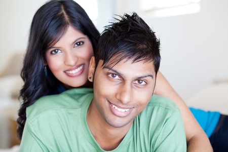 indian couple: lovely young indian couple portrait