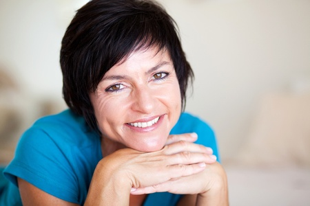 middle aged: closeup portrait of elegant middle aged woman Stock Photo
