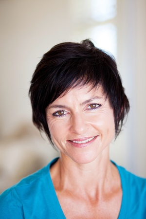 middle aged: elegant middle aged woman closeup portrait Stock Photo