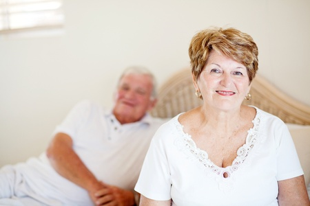 senior couple sitting on bed Stock Photo - 12728363