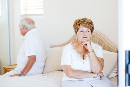 sad old woman: elderly couple relationship issue