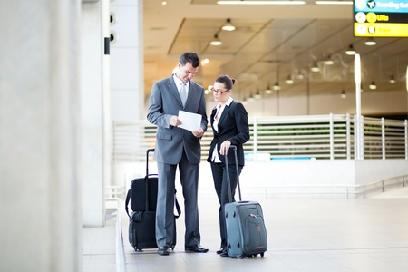 two business people meeting at airport  photo
