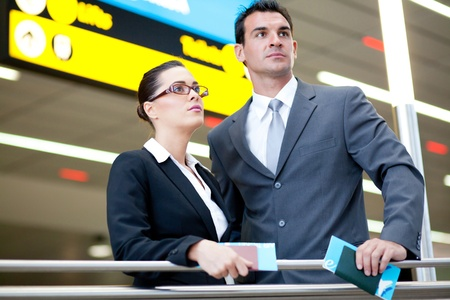 business traveller: determined business travellers in airport