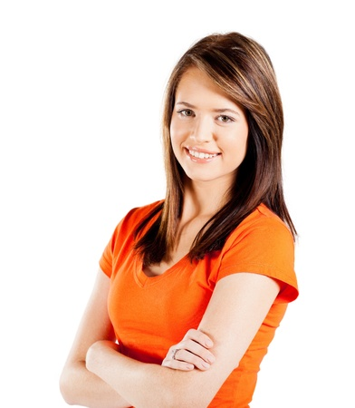 adolescentes chicas: ni�a feliz adolescente medio retrato de cuerpo entero sobre fondo blanco