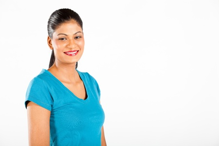 indian woman half length portrait on white background Stock Photo - 13058794