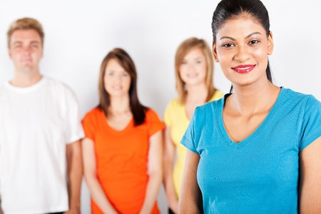 young indian woman in front of group of people Stock Photo - 13058736