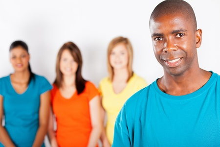 young african american man standing in front of group of girls Stock Photo - 13058611