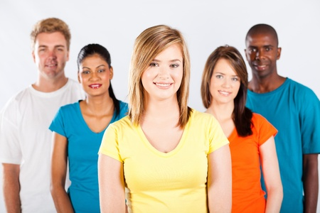 multi racial group: group of diverse people portrait