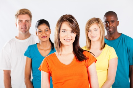 multi racial groups: group of multicultural people on white background