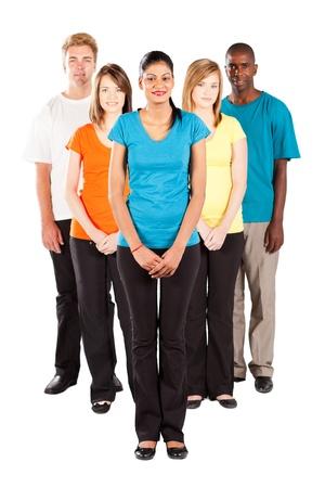 diversidad cultural: grupo de personas multirraciales aisladas sobre fondo blanco Foto de archivo