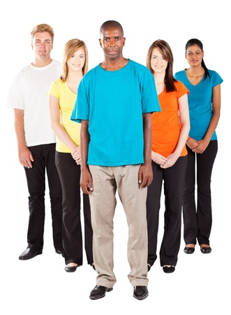 group of young diverse people on white background photo