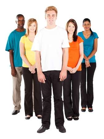 group of young multicultural people on white background photo