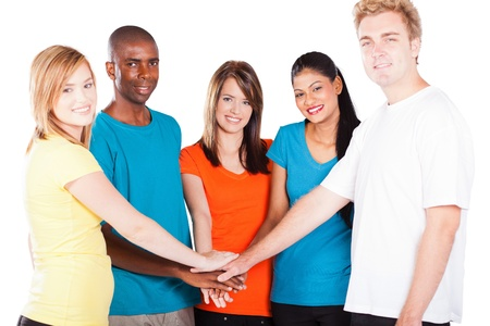 multi racial group: group of young multicultural people hands together