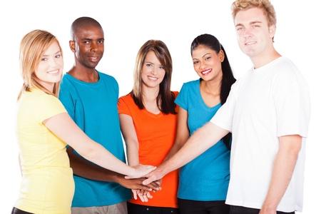 multi race: grupo de j�venes multiculturales manos Foto de archivo