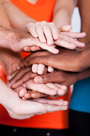 multi race: multiracial group people hands together