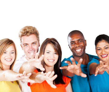 diverse hands: group of multiracial friends reaching for the camera Stock Photo