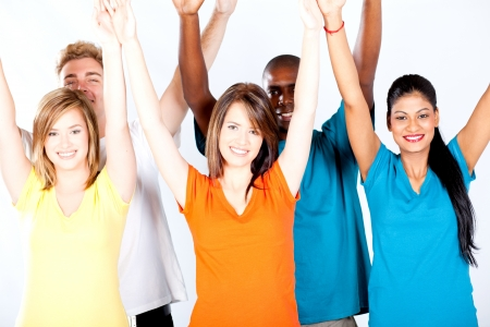 group of multicultural people arms up photo