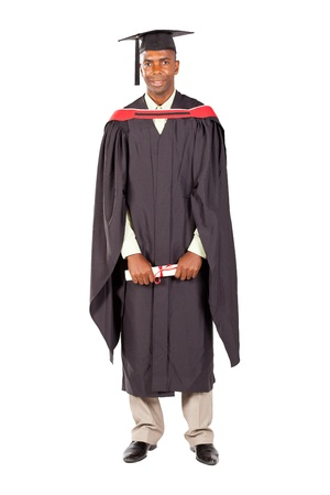african american male graduate full length on white background photo