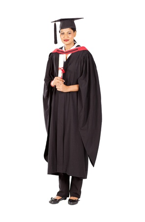 female indian graduate isolated on white background photo