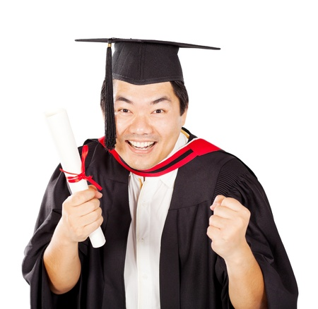 excited male chinese graduate with diploma isolated on white photo