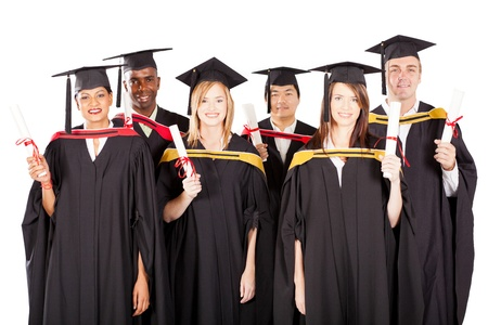 group of multiracial graduates on white photo
