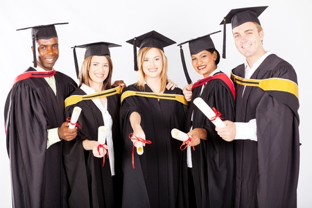 group of multicultural university graduates portrait photo