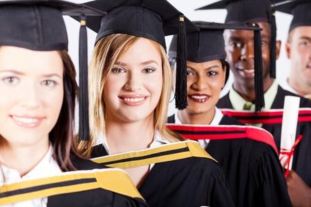 group of international graduates closeup portrait photo