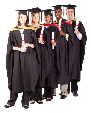 group of graduates full length portrait on white photo