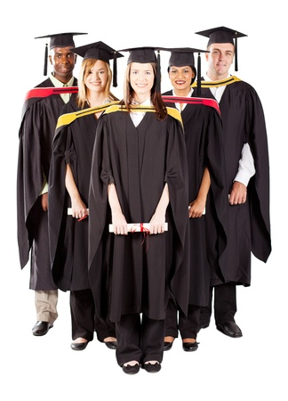 group of diverse graduates full length portrait on white photo