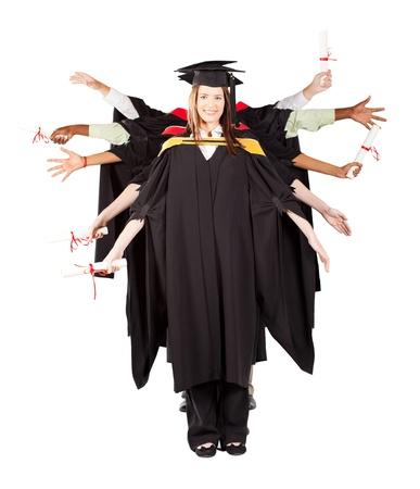 group of graduates having fun at graduation photo